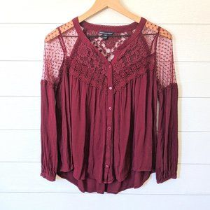 American Eagle Lace Detailed Button Down Blouse XS